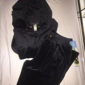 NWT GreenTea Grey Velour Sweatsuit